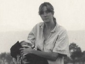Elizabeth Enslin with son in Chitwan, Nepal, 1987