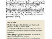 "A page from Lonely Planet Nepal listing five recommended books on ""Nepal Today."""