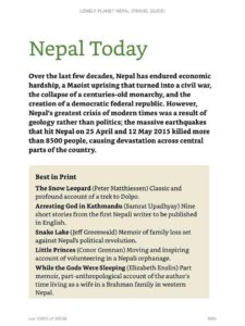 """A page from Lonely Planet Nepal listing five recommended books on """"Nepal Today."""""""